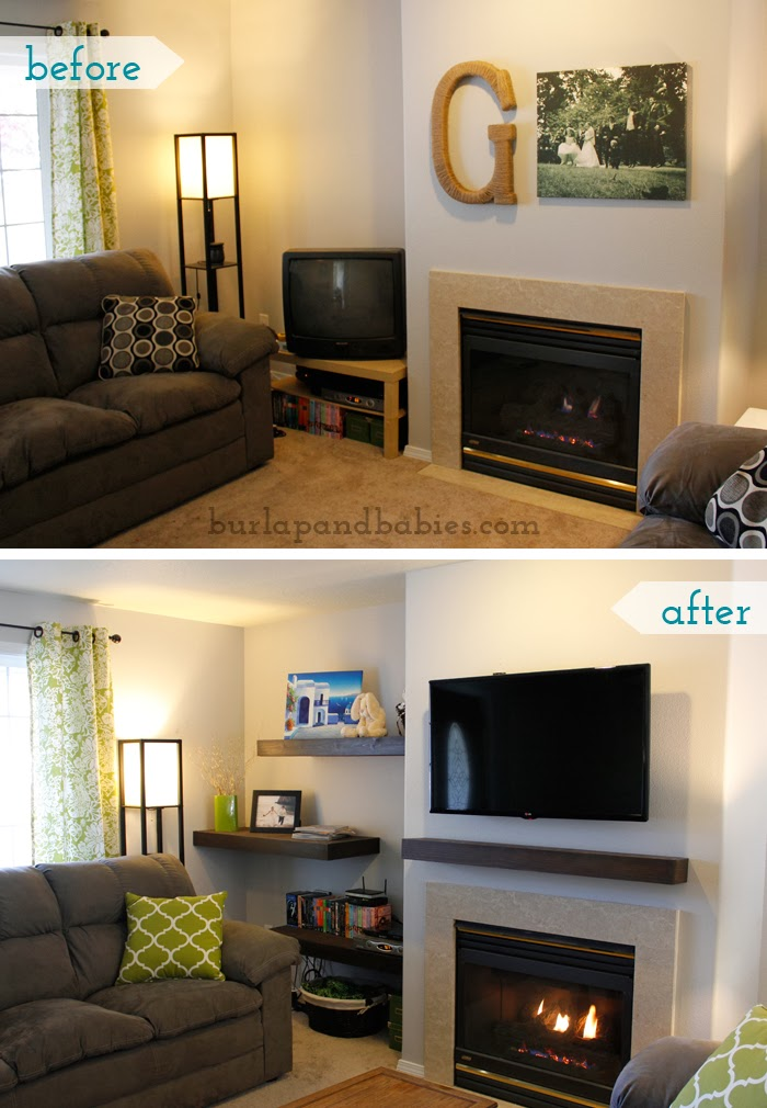 Before and after photos of floating shelves in a living room image.