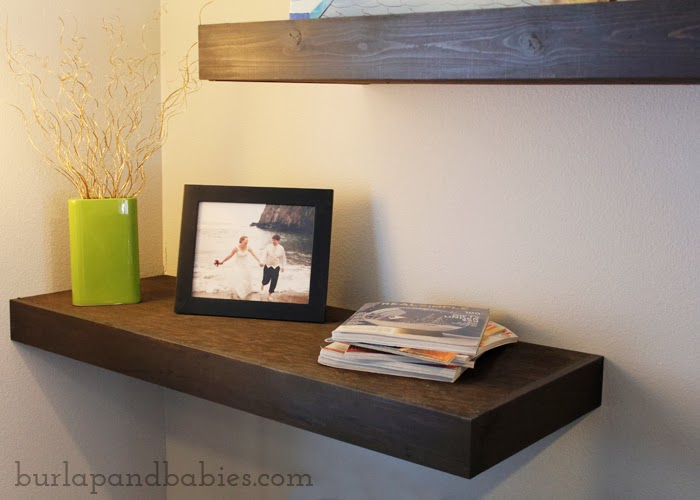 DIY floating shelf on wall image.