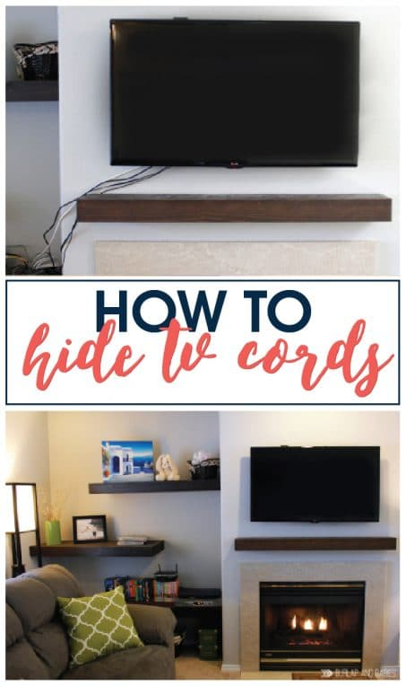 Super easy how to hide those ugly tv cords. Full tutorial with supply list included!