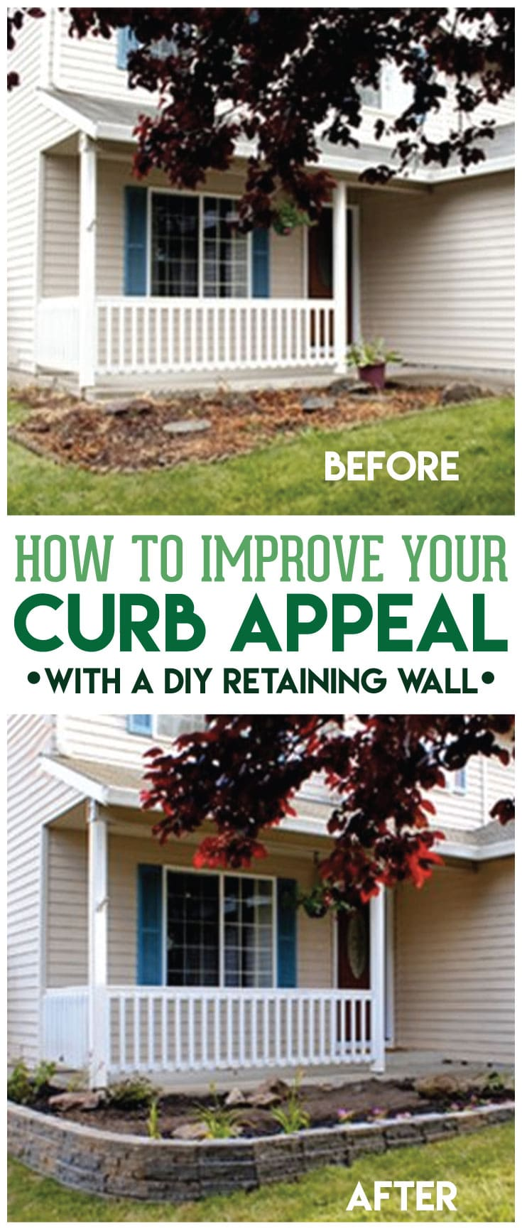 Learn how to make a retaining wall to drastically improve your curb appeal in the easiest and simple way in just a weekend WITHOUT needing professionals! #retainingwall #DIYretainingwall