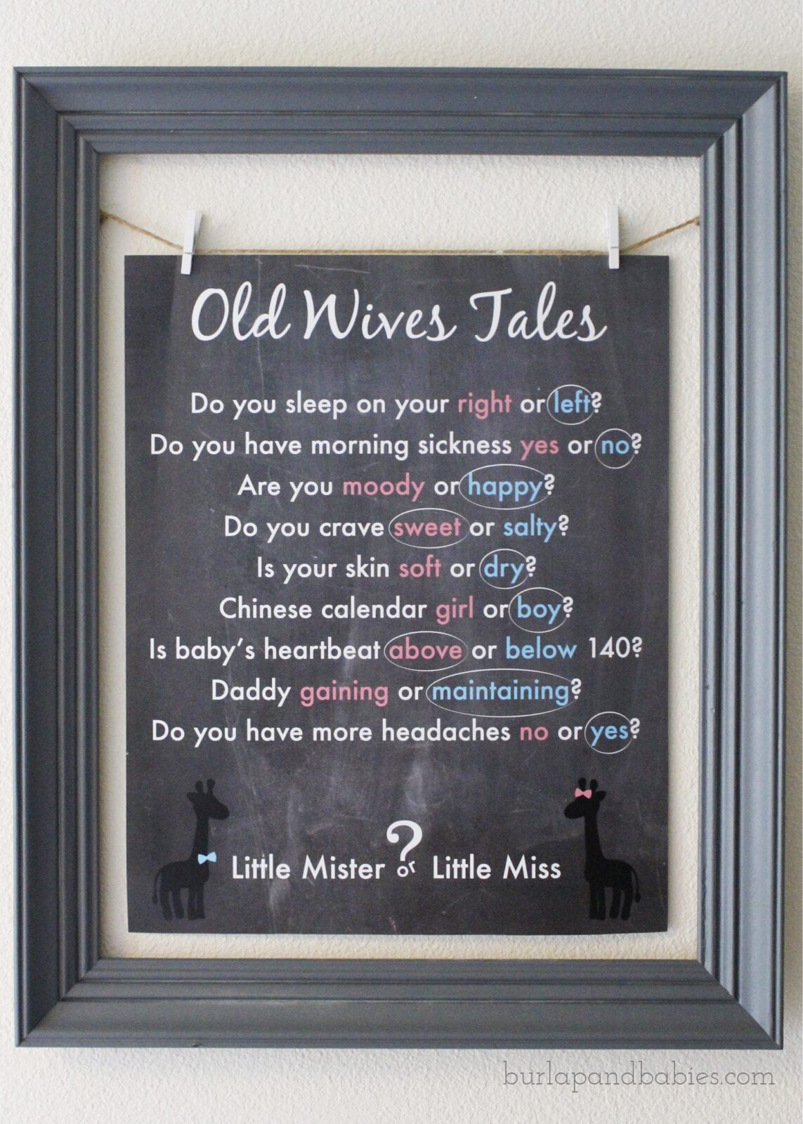 "Framed printable titled ""Old Wives Tales"" image."