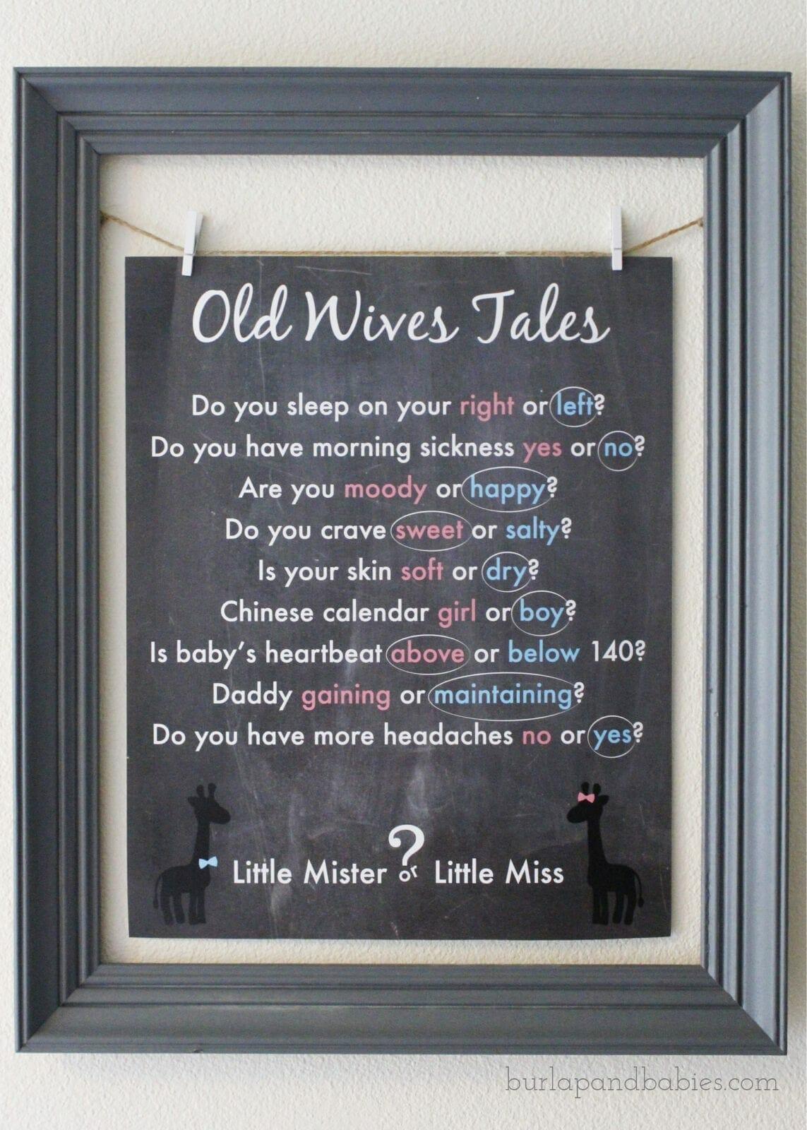 "Framed printable titled ""Old Wives Tales"" image."