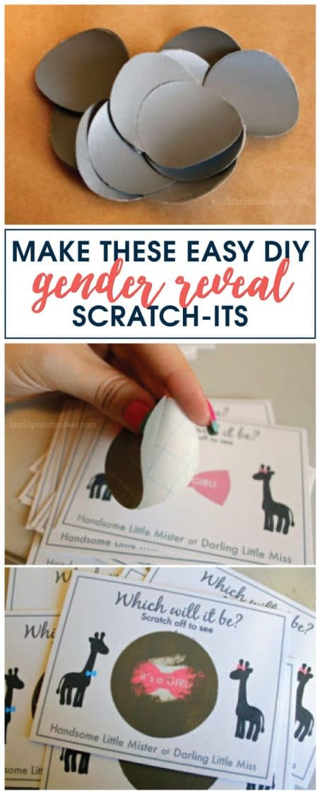 Looking for a creative way to announce the gender of your baby to family and friends? See how to make these easy gender reveal scratch-its. FREE printable included.