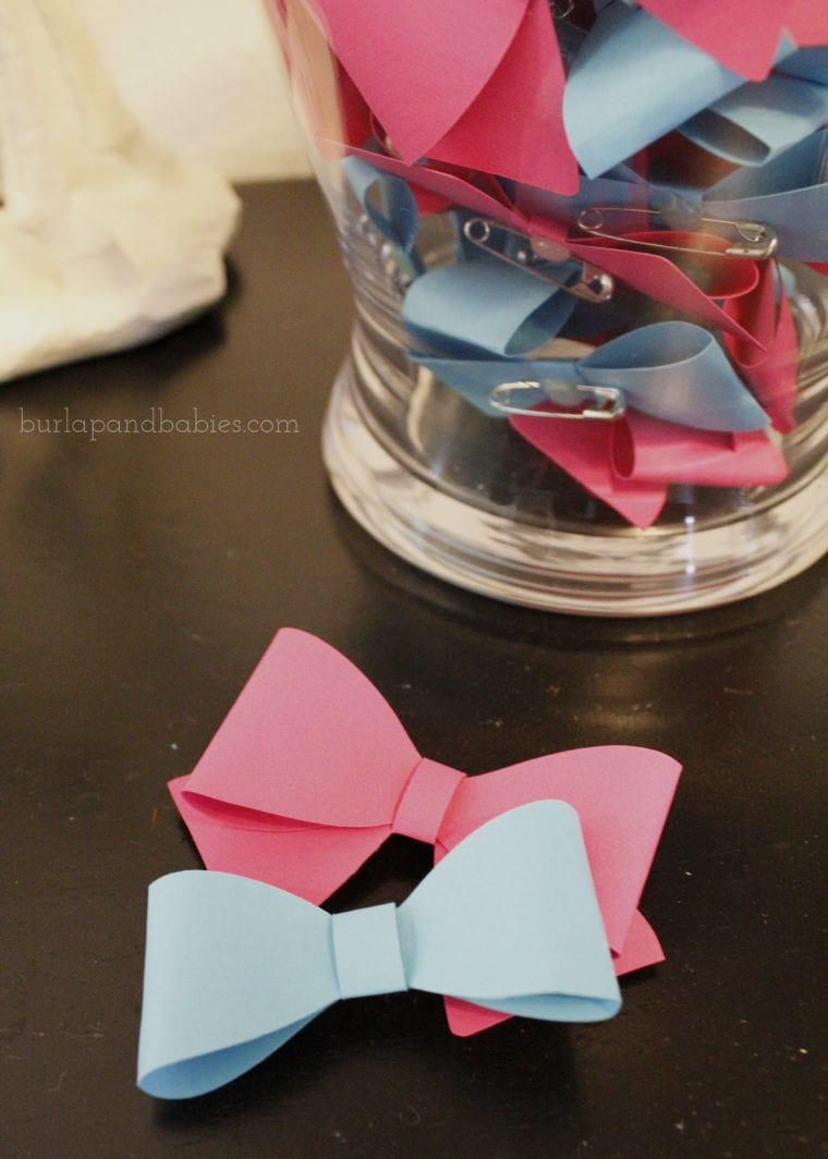 Blue and Pink gender reveal bows image.
