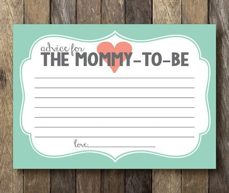 Advice for the mommy-to-be card image.