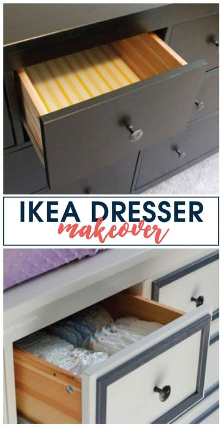 This Hemnes IKEA dresser makeover has been made over from boring black to fresh white with a little pizazz to help makeover a nursery. Come check it out!