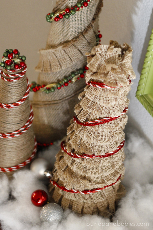 How to make burlap christmas trees for Burlap ribbon on tree