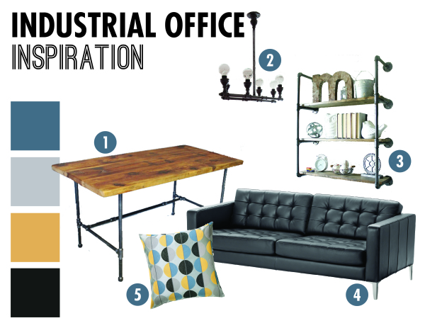 Industrial-style office makeover! Loving the rustic, yet modern details.