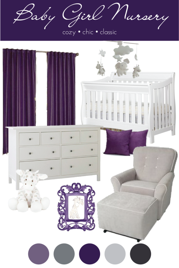 Baby girl purple giraffe nursery reveal