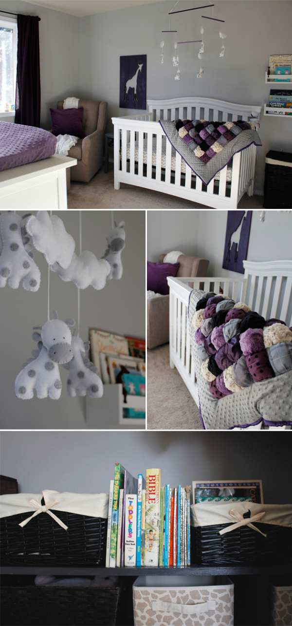 Collage of baby girl's nursery in purple and white image.
