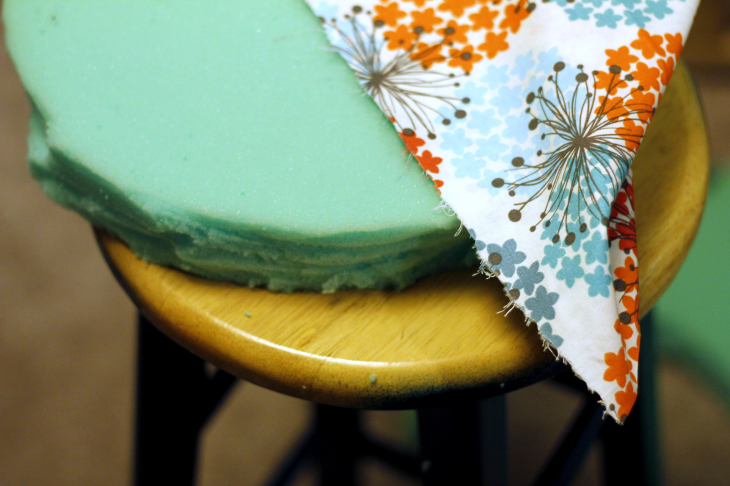 Green foam and fabric materials for the DIY bar stools image.