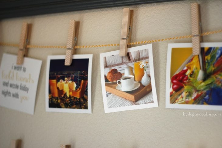 Photos on string with clothespins image.