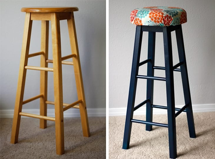 Before and after of bar stool makeover image.