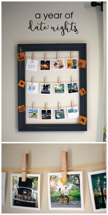Make a year of date nights as the perfect Christmas gift, Valentine's Day gift, or anniversary present for your loved one. Create a super easy, yet adorable, year of date nights display using a frame, baker's twine, clothespins, and some square pictures!