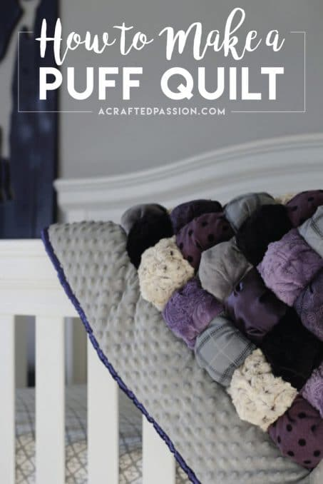 Make a puff quilt with this simple tutorial. Also known as a biscuit quilt, this easy quilt is perfect for even a beginner to make and so cute! Makes a great baby shower gift, Christmas present, or birthday present for a new baby.