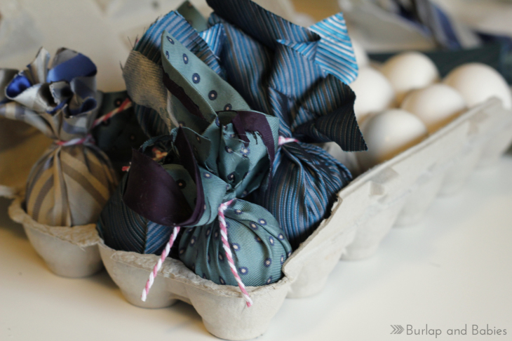 Silk Tie-Dyed Easter Eggs. Make these stunning Easter eggs with some old ties from your hubby's closet.