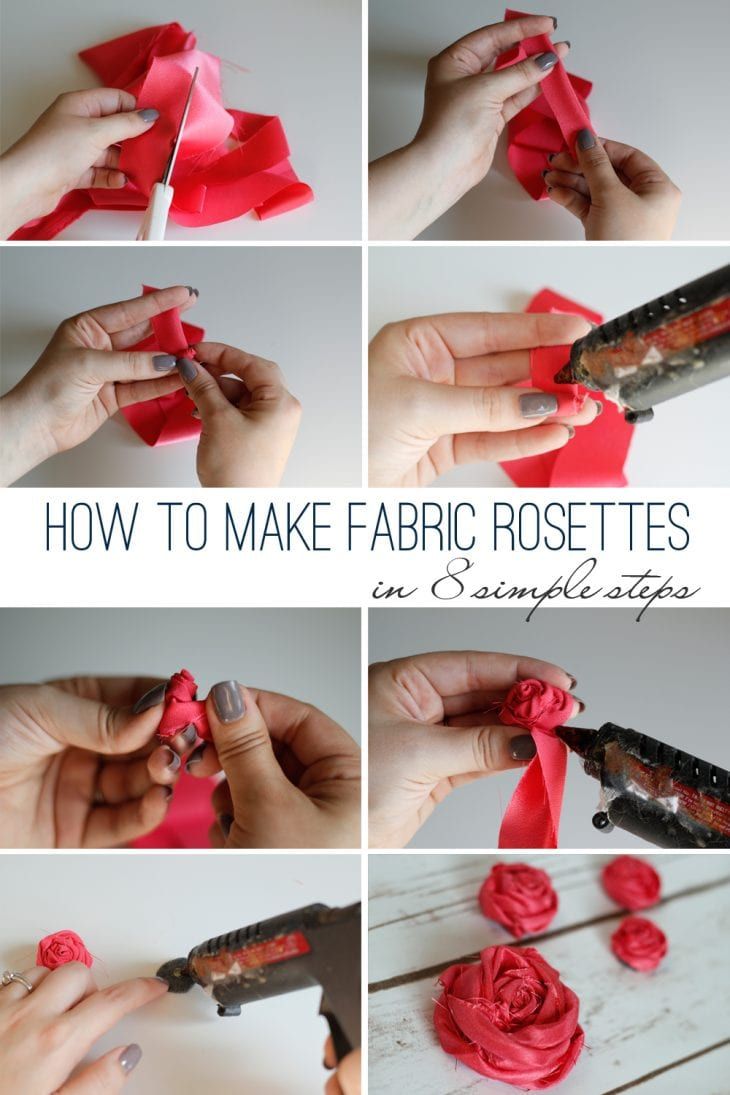 Learn how to make fabric rosettes in just 8 simple steps! It's super easy and they're so cute! Get step-by-step instructions with a video tutorial.