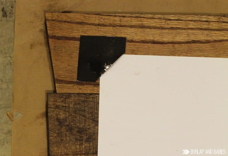 Place the sheet metal pieces to the pallet picture frame image.