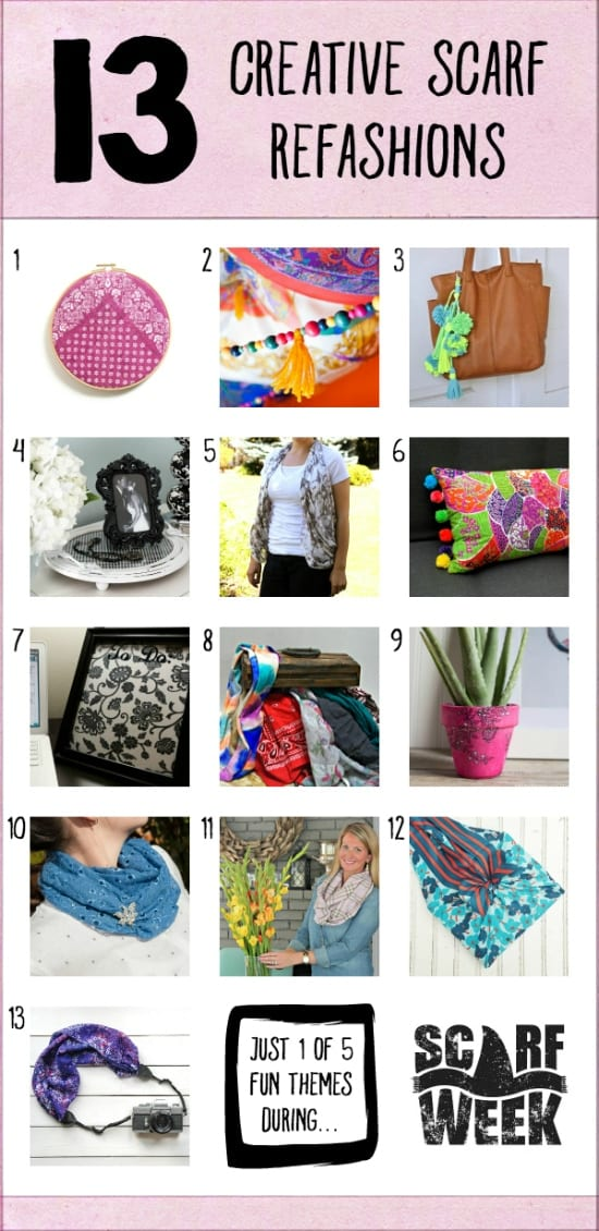 Collage of 13 Creative Scarf Refashions image.
