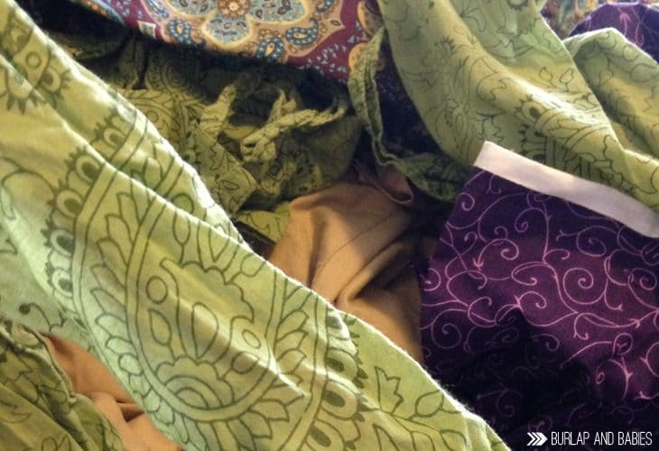 Green and purple pieces of fabric image.