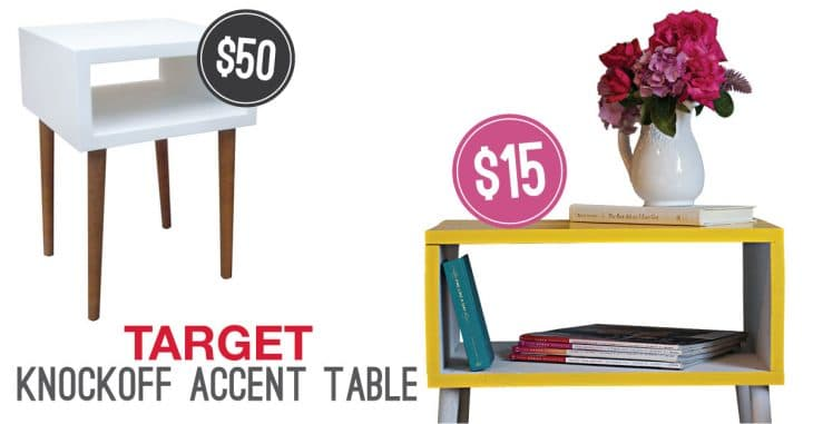 Comparing cost of Target side table to DIY side table image.