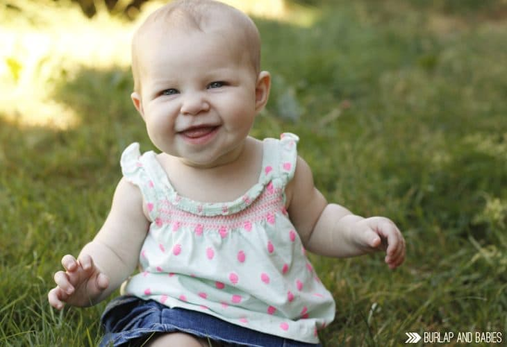 7 Months | Monthly baby updates at Burlap and Babies