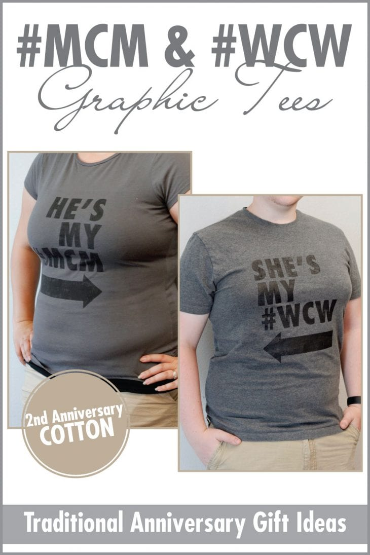 #MCM and #WCW Graphic Tees | Make these matching DIY couple tshirts to celebrate your second anniversary with the gift of cotton! Get the tutorial, plus 10 more cotton gift ideas here!