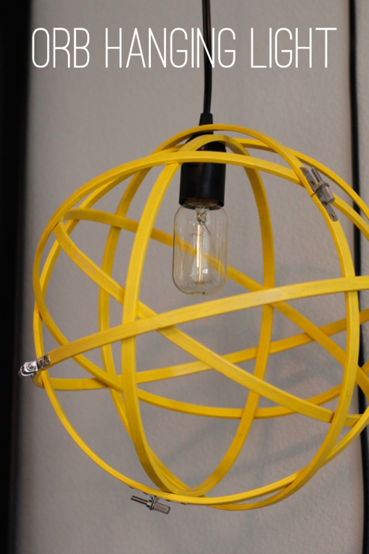 Orb Hanging Light | Create a fun hanging light using embroidery hoops and some paint! Click for tutorial!
