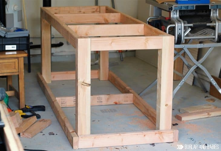 Wood framed up for building a workbench image.