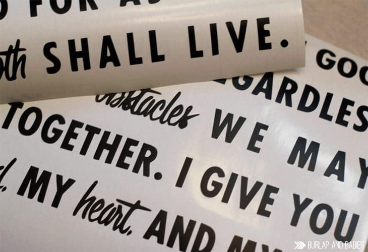 Wedding Vows Wood Sign | Put your wedding vows on wood to display in your bedroom so you never forget such a special day. Makes the perfect 5th anniversary gift to celebrate the gift of wood. Get the tutorial here, plus 10 more wood gift ideas.