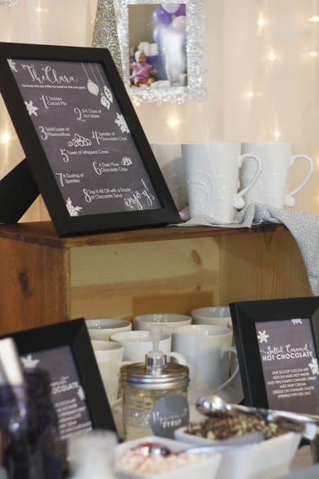 Hot chocolate bar printable in a frame image.