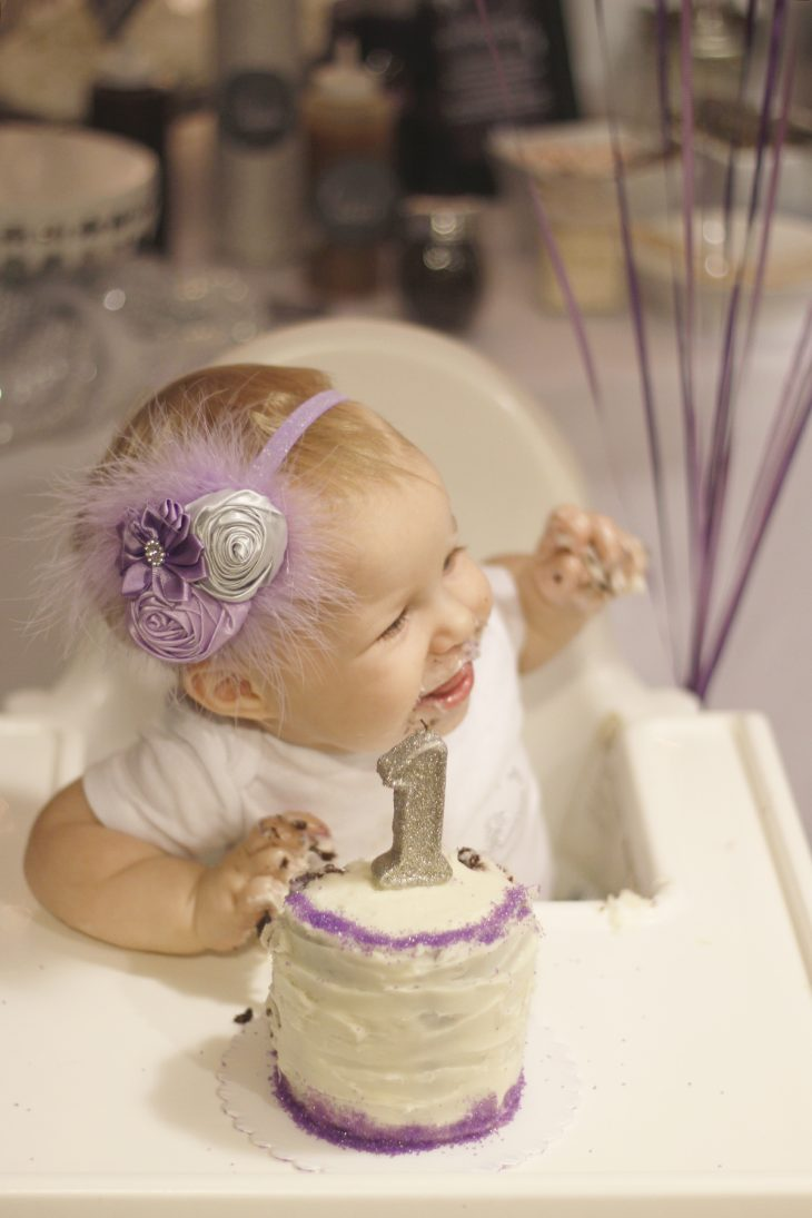 Purple & Silver First Birthday Party.