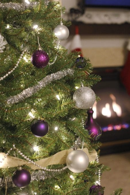 Enjoy this traditional glittery Christmas home tour with a silver & purple Christmas tree and DIY mini Christmas trees!