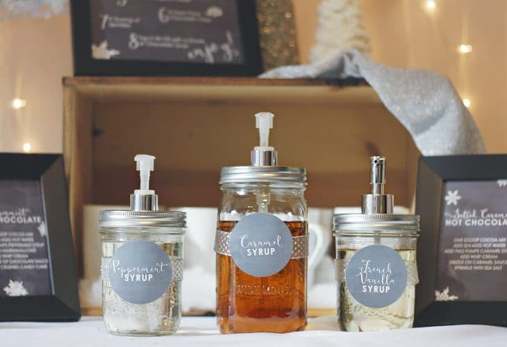 Learn how to make your own mason jar dispenser using a dollar tree soap pump. These make the perfect flavored syrup dispensers for your hot chocolate bar!