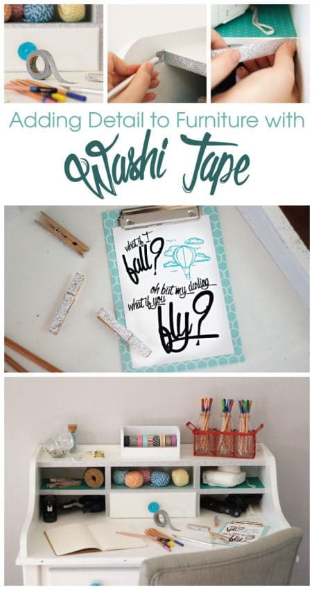 Add some simple, fun detail to furniture using washi tape. Find this, plus 5 other creative ways to use washi tape.