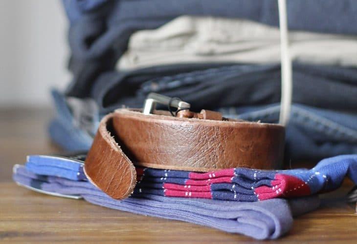 Brown leather belt image.
