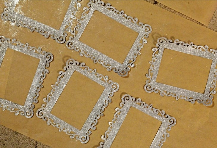 Six silver glitter covered frames image.