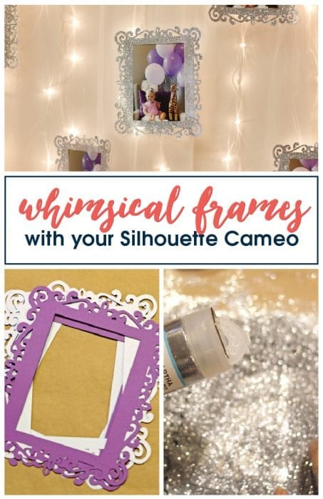 Make these simple whimsical picture frames using your Silhouette Cameo for your next party picture display! Free cut file included!