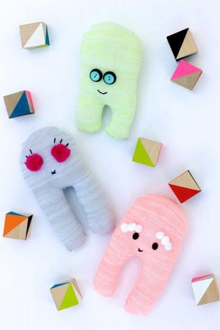 Handmade stuffed robots image.
