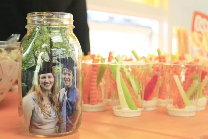 Check this out for many creative college graduation party ideas full of DIY projects and graduation party dessert ideas. Veggie sticks in cups are an easy finger food when there's standing room only.