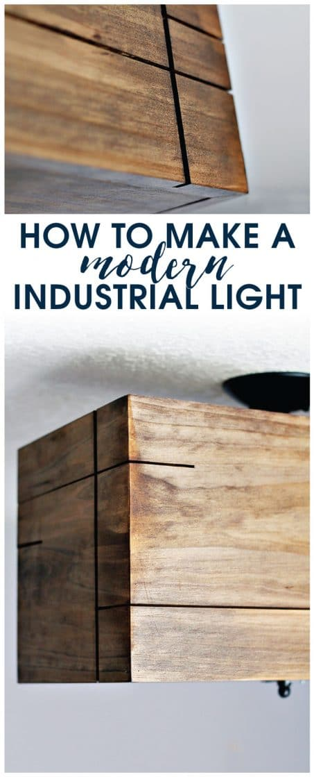 PIN THIS! Use this tutorial to learn how to make a modern industrial light with clean lines and cutouts. Grab 7 days to nailing power tools while you're there!