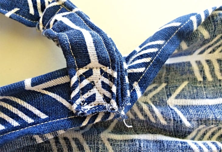 Sewn fabric straps attached together image.