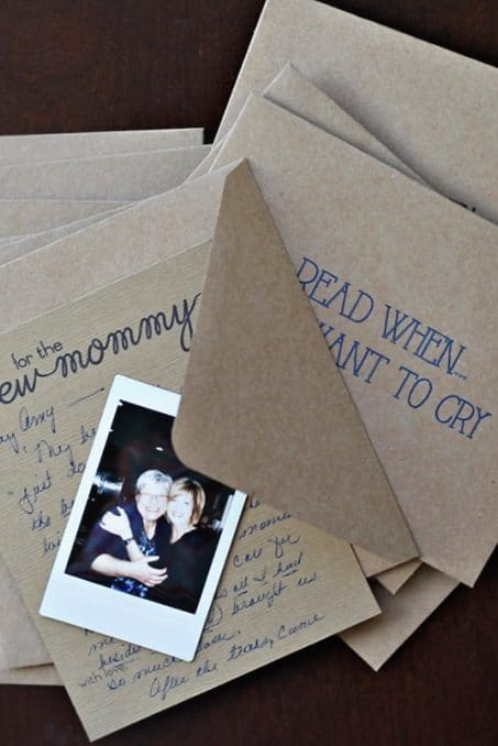 Envelopes for a new mommy with a Polaroid photo of two women image.