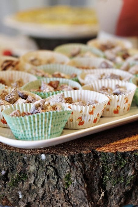 Sweets in woodland themed cupcake cups image.