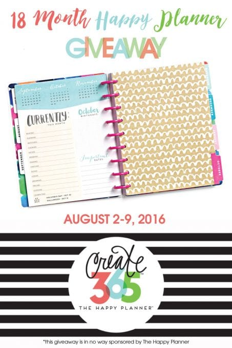 Happy planner giveaway image.