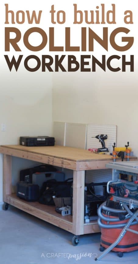 How to Build a Rolling Workbench   Build a simple workbench with these easy to follow DIY plans. This is the perfect workbench to add more storage in your garage to hold your tools and get you organized!