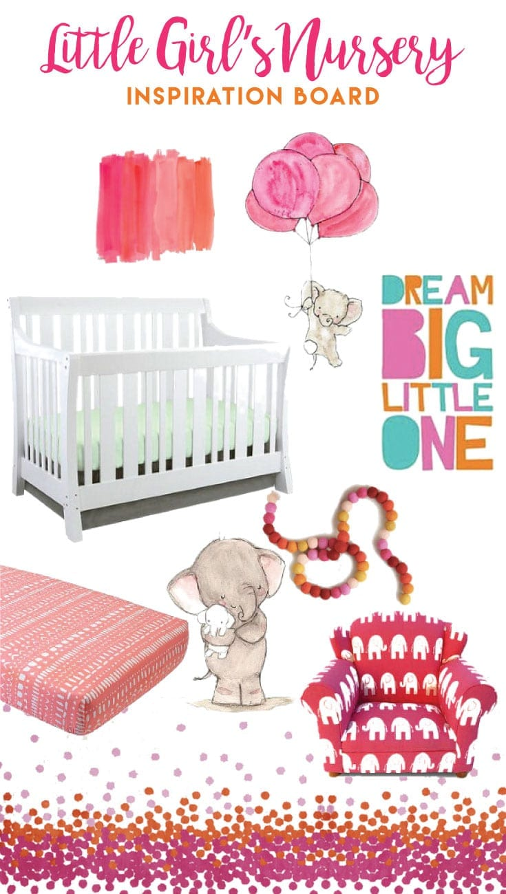 A colorful nursery filled with bright pink and orange. Perfect inspiration board for your fun little baby girl!