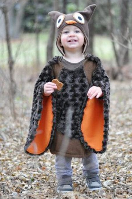 Toddler in DIY owl costume image.