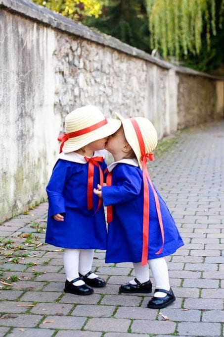Two little girls in DIY Madeline costume image.