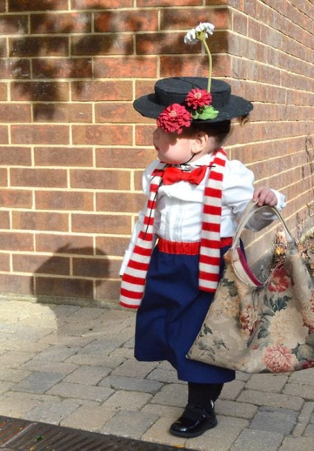 Little girl in DIY Mary Poppins costume image.